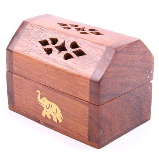 Wooden Incense Cone Burner Box Elephant