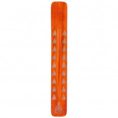 Wooden Incense Holder Ash Catcher - Buddha Orange