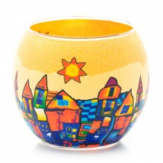 Yellow & Blue Town - Glowing Globe Glass Tea Light Candle Holder