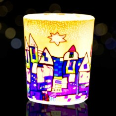 Yellow & Blue Town - Glowing Votive Glass Tea Light Candle Holder lit
