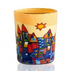 Yellow & Blue Town - Glowing Votive Glass Tea Light Candle Holder