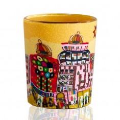 Yellow City - Glowing Votive Glass Tea Light Candle Holder