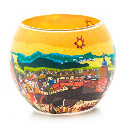 Yellow Town - Glowing Globe Glass Tea Light Candle Holder